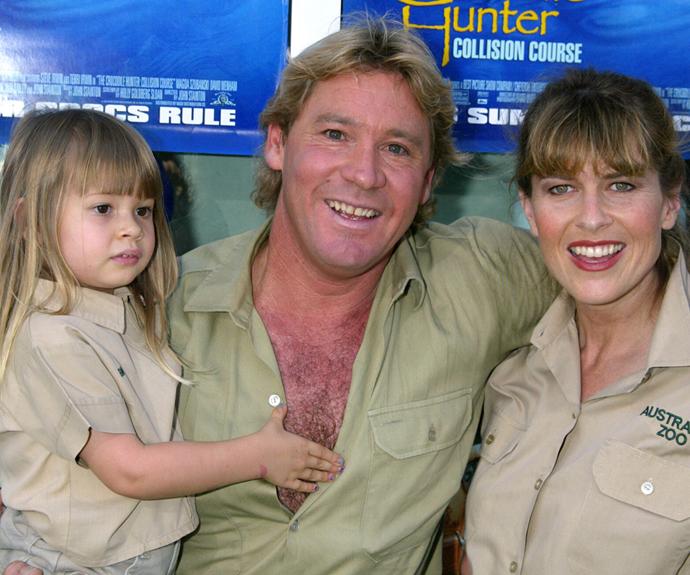 Steve Irwin, Terri Irwin and a young Bindi Irwin pictured before the Crocodile Hunter's tragic death in 2006.