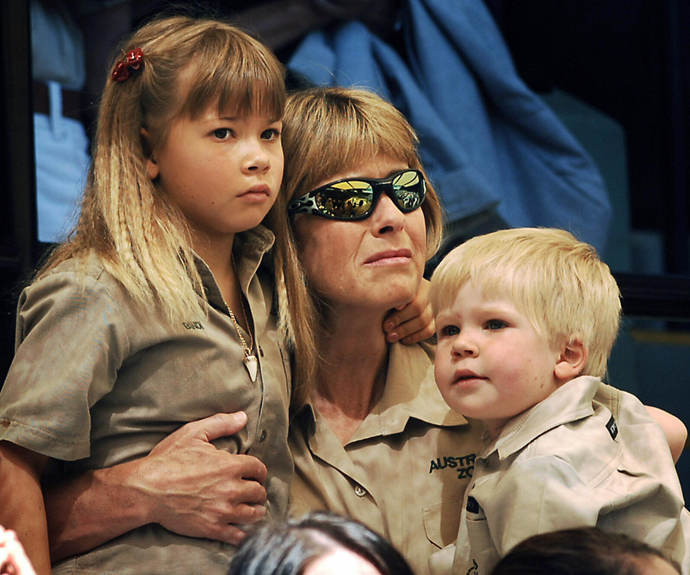 Terri Irwin pictured with her children Bindi and Robert at her late husband Steve Irwin's funeral in 2006.