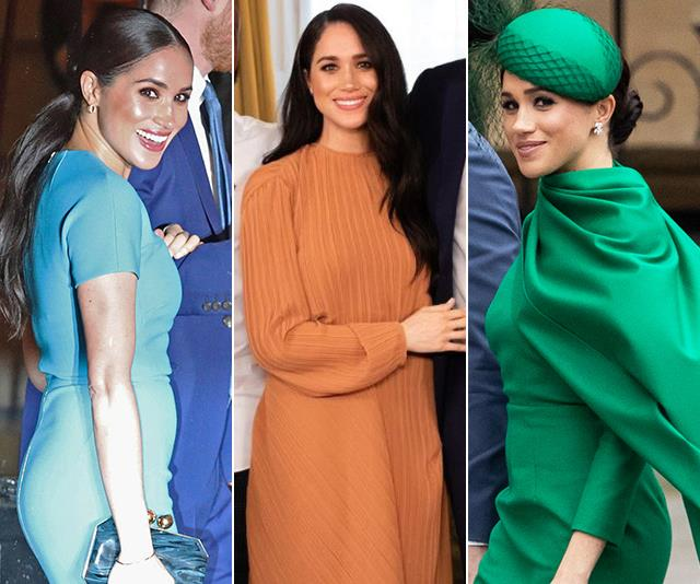 Meghan wore a bright and bold colour palette as she rounded out her final royal duties in March.