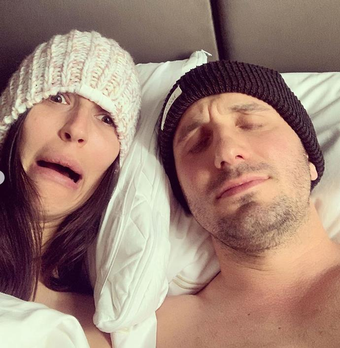 Pillow talk! Nat shared this intimate selfie with Tommy from bed.