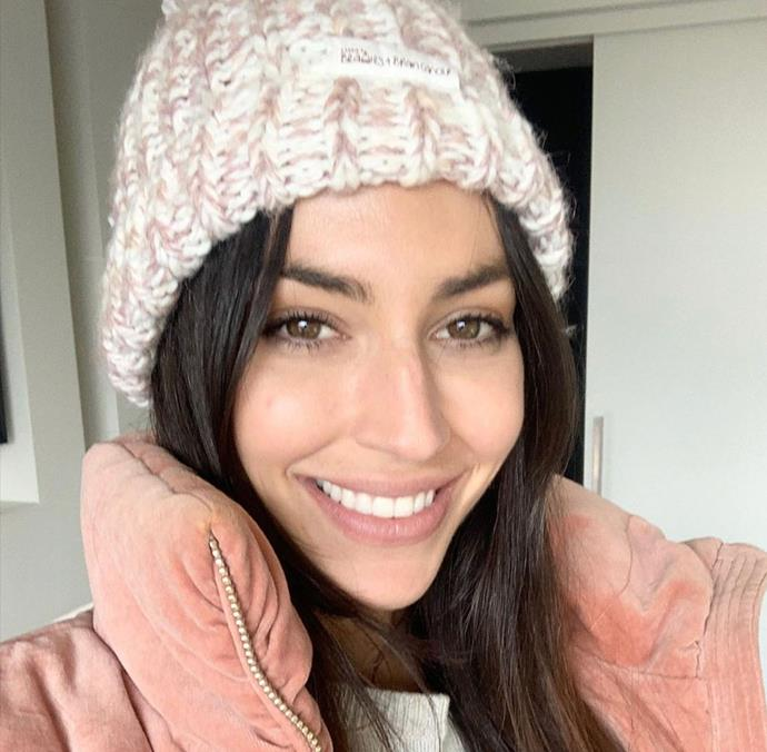 The CEO made for the perfect model for Carrie Bickmore's beanies.