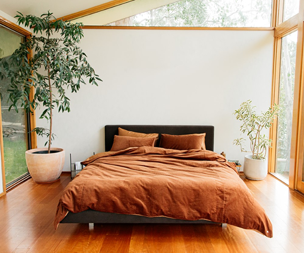 The Sheet Society's Darcy Corduroy quilt cover in Terracotta, from $160.