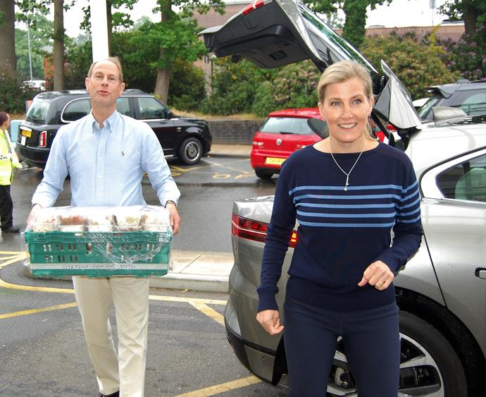 Sophie and Prince Edward were pictured helping to delver food amidst the COVID-19 pandemic.