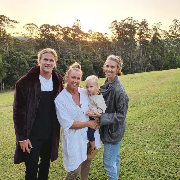 Jett Kenny, Lisa Curry and Morgan Kenny with her son.