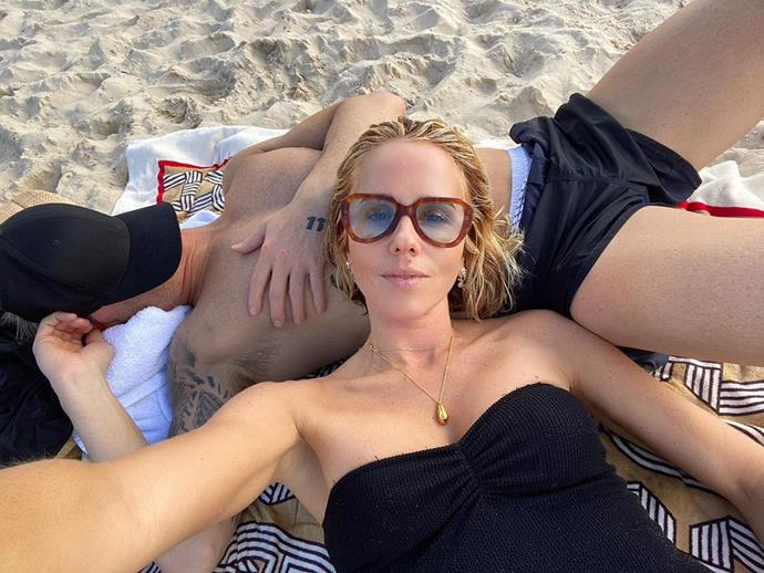 Pip posted this sexy couple selfie of the pair lying on each other at the beach in Noosa, although Michael's face is covered and she did not tag him in the post.