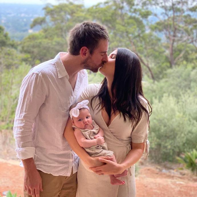 Callum and Crystal pictured with Elle just after she was born.