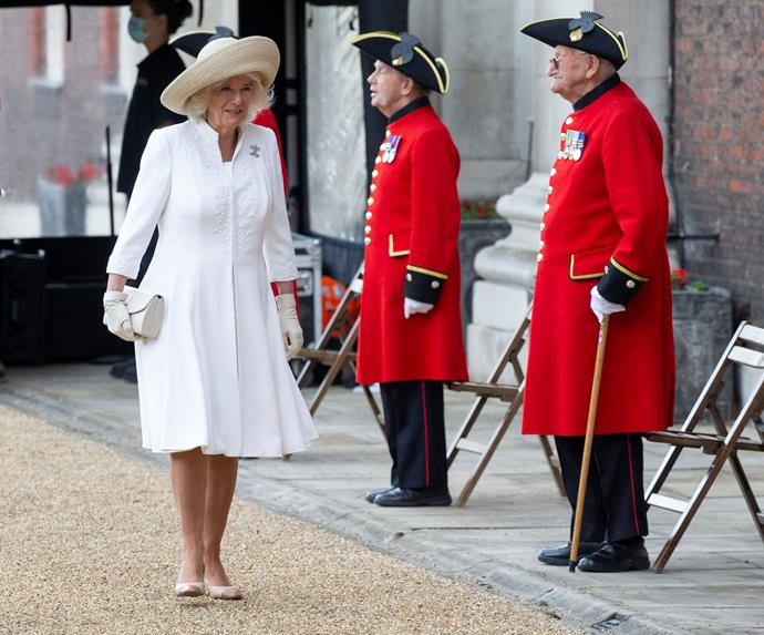 Camilla looked chic in white as she made an appearance at the Royal Hospital Chelsea in London on July 15, 2020.