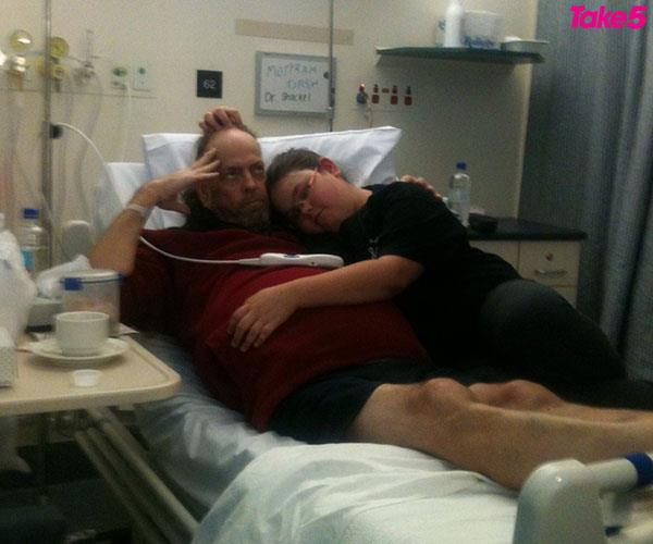 In hospital with Dad when he first got sick.