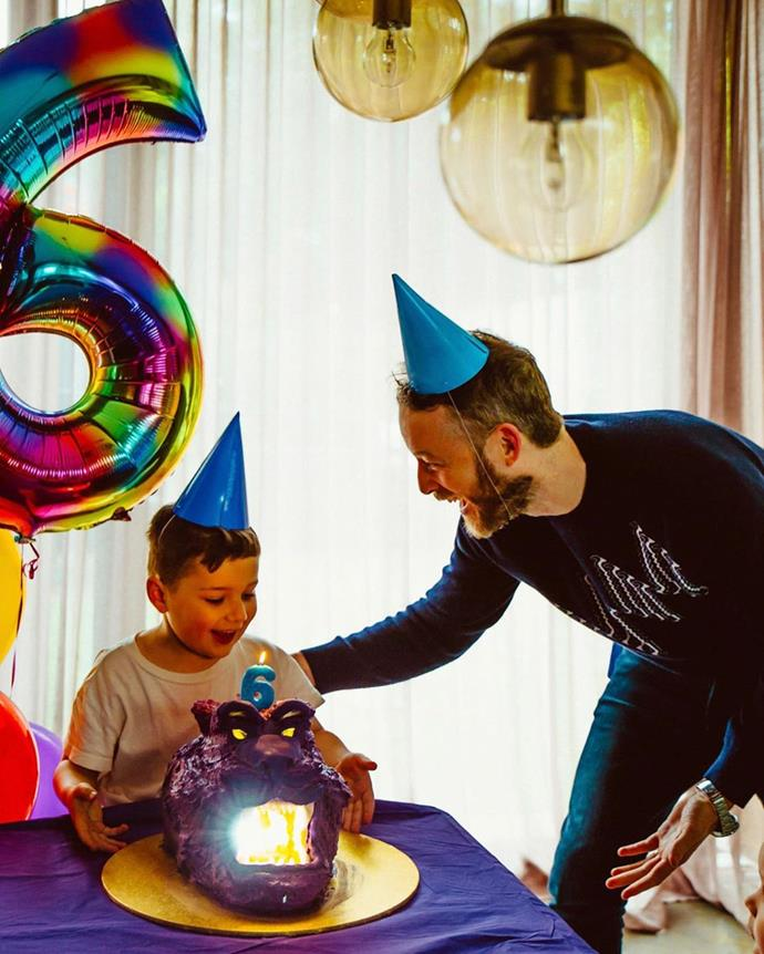 Hamish created a cake version of Aladdin's cave for Sonny's sixth birthday. The expression on his face says it all!