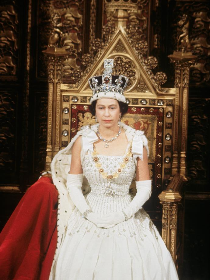 Steeped in royal history, Queen wore the design back in 1967 for the State Opening of Parliament.