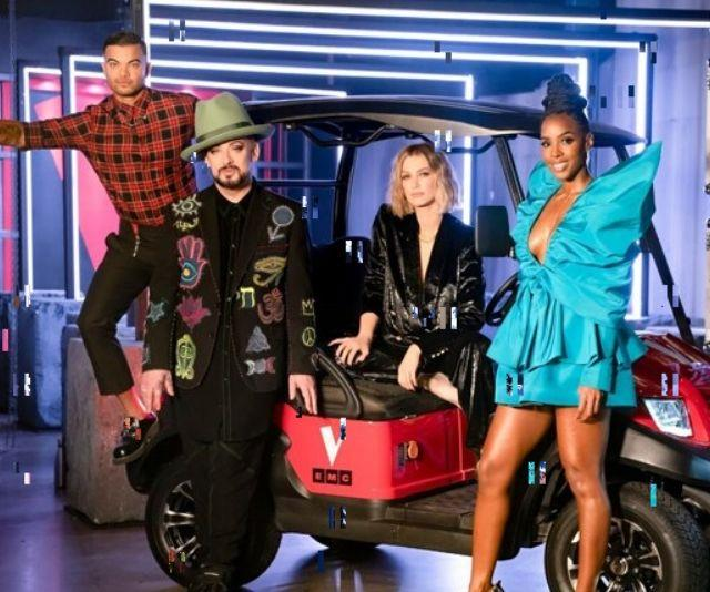 The Voice coaches: Guy Sebastian, Boy George, Delta Goodrem and Kelly Rowland.