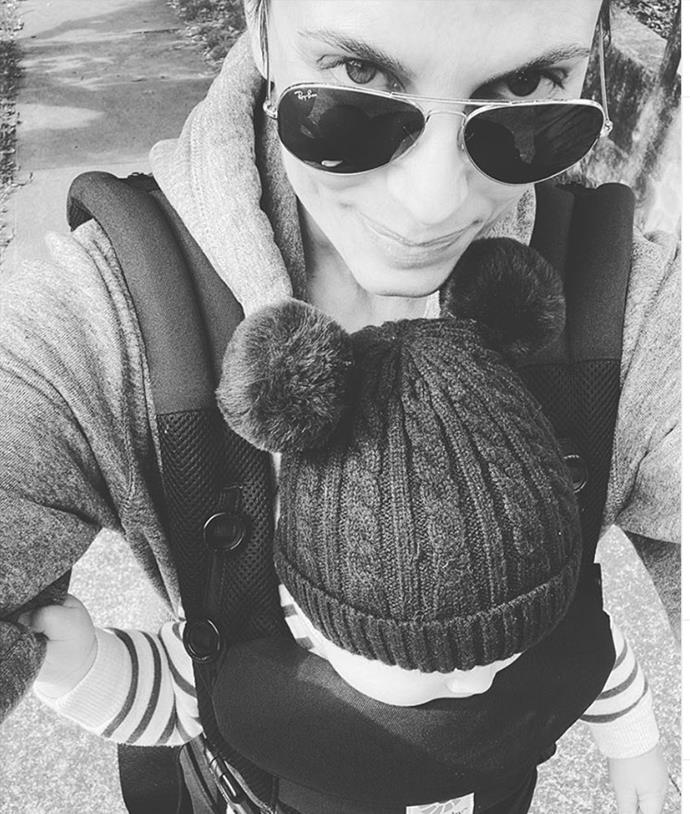 """""""Two pom poms are better than one 🐨Morning walks with my ❤️,"""" Zoe penned alongside this snap with son Austin."""