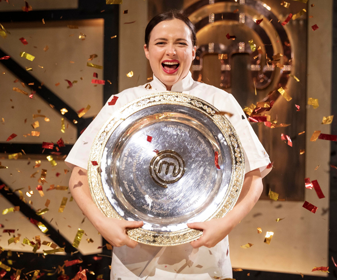 The amazing moment Emelia was crowned the winner of *MasterChef* for 2020.