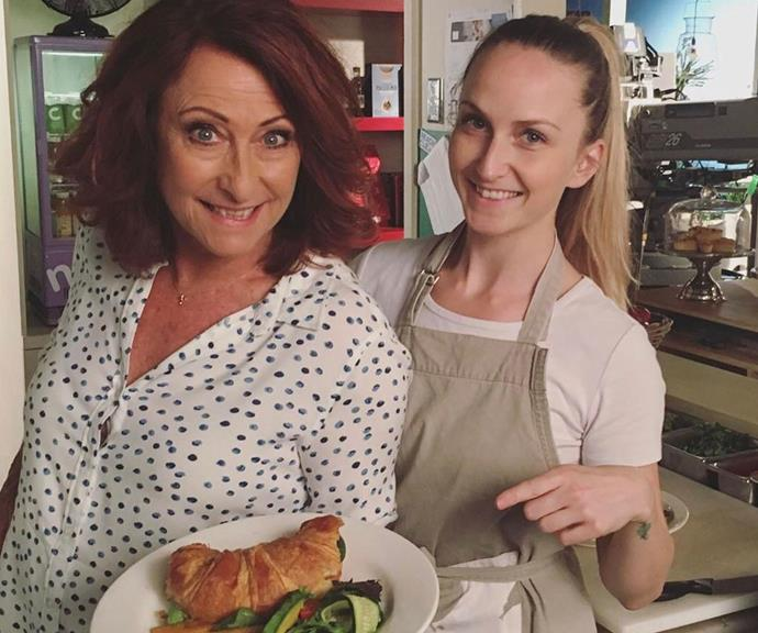 """""""Mother and daughter in the diner #familybusiness,"""" Lynne penned alongside this snap of Clancy visiting her on set in the world-famous Summer Bay diner."""
