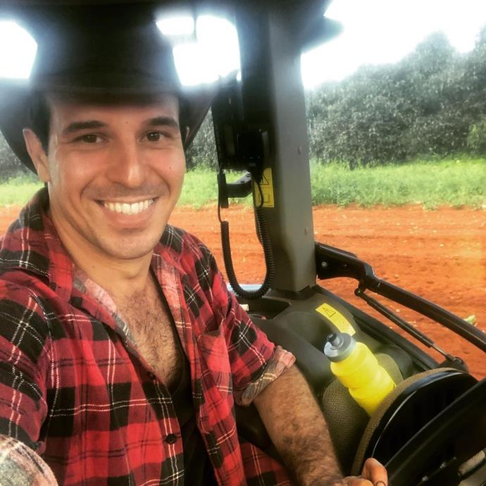 Sam posted this cheeky selfie from his tropical fruit farm.