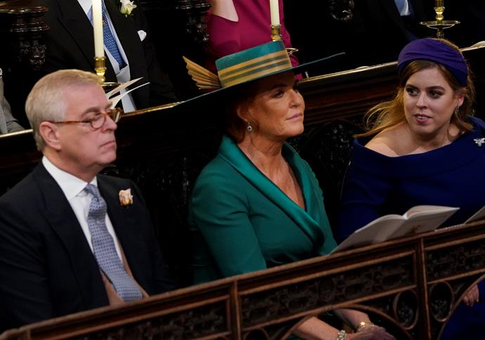 Prince Andrew, Fergie and Beatrice pictured at Princess Eugenie's wedding in 2018.