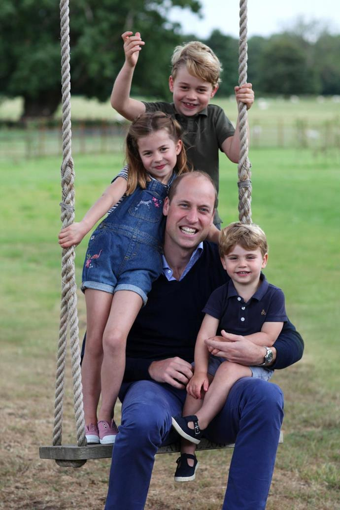 "On Prince William's birthday in 2020, Duchess Catherine [snapped these glorious candids](https://www.nowtolove.com.au/royals/british-royal-family/prince-william-children-photo-64339|target=""_blank"") of her husband with their three young children."