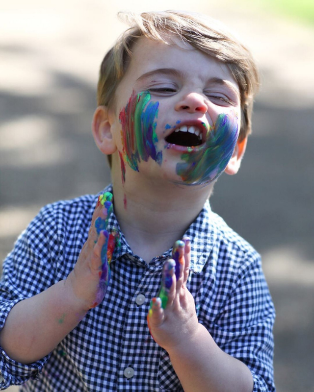 "For Prince Louis' birthday in 2020, the Palace released [a glorious new set of pictures](https://www.nowtolove.com.au/royals/british-royal-family/prince-louis-new-paint-photo-63632|target=""_blank"") featuring young Louis getting *very* creative with some paint. At the ripe old age of two, we're already seeing the first signs of his vibrant personality."