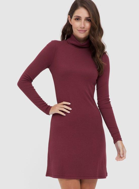 "Bamboo Body Turtleneck Dress, $99.95. [Buy it online via THE ICONIC here](https://www.theiconic.com.au/ribbed-turtleneck-dress-1093184.html|target=""_blank""