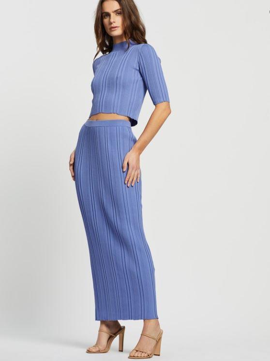 "Bec & Bridge Esme Knit Midi Skirt, $200. [Buy it online here](https://www.theiconic.com.au/esme-knit-midi-skirt-1018260.html|target=""_blank""|rel=""nofollow"")."