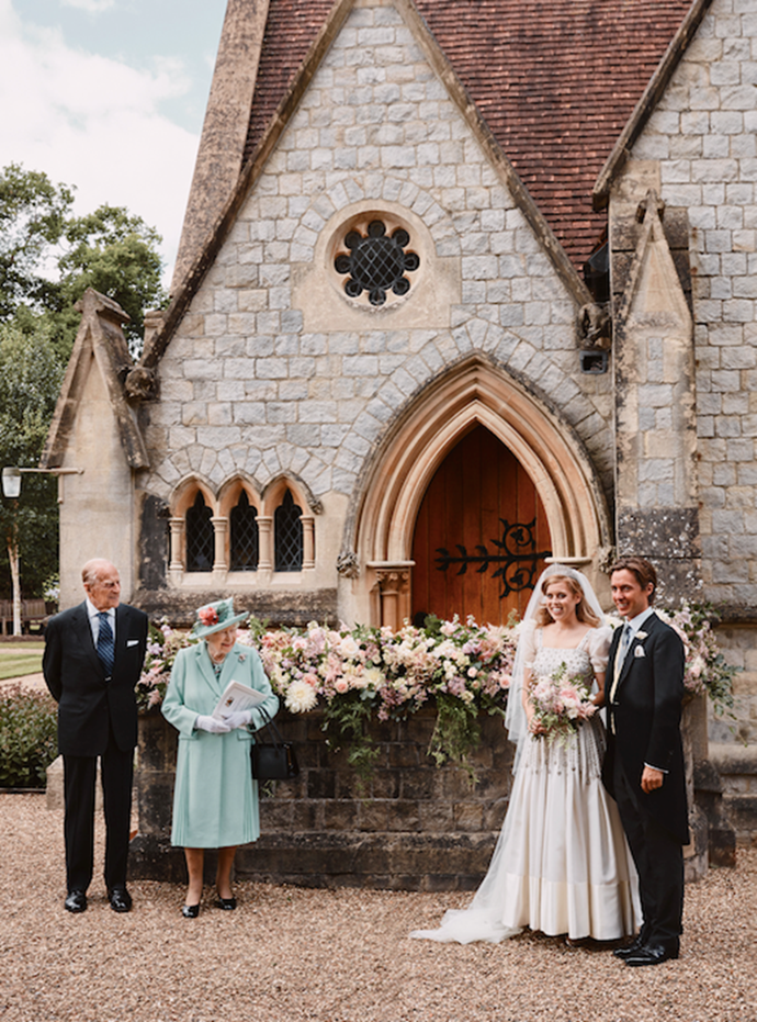 Philip and The Queen joined Beatrice and new husband Edoardo Mapelli Mozzi for an official portrait following their wedding ceremony on Friday.