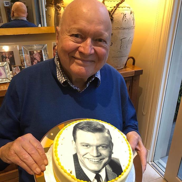 Bert holding his personalised birthday cake!