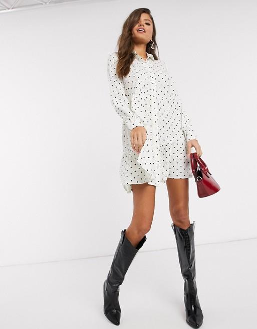"ASOS Stradivarius shirt dress, $36. [Buy it online here](https://www.asos.com/au/stradivarius/stradivarius-shirt-dress-in-white-with-black-dots/prd/14937122|target=""_blank""|rel=""nofollow"")."