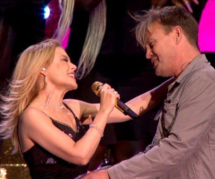 Jason joined Kylie onstage for a rendition of *Especially For You*.