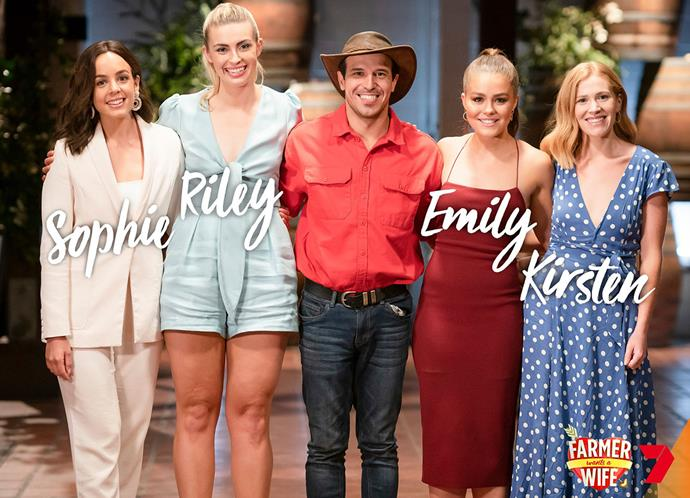 **Farmer Sam, 28, Innisfail, Queensland** <br><br> Sophie, 28, ACT, Riley, 23, NSW, Emily, 24, VIC, Kirsten, 28, NSW.