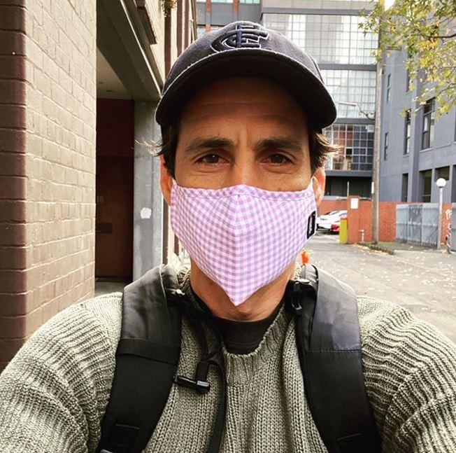 "Andy Lee is right on board with the masked parade. ""I feel like a superhero whose power is flying in and drying your dishes at super human speed,"" he wrote on Instagram."