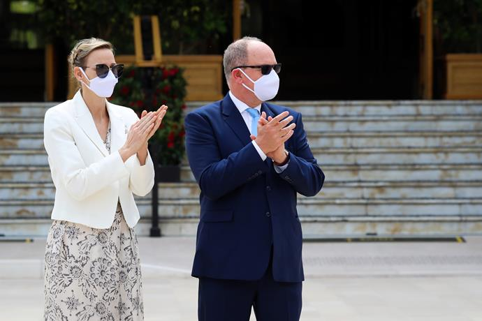 In Monaco, Prince Albert and Princess Charlene wore white face masks for an inauguration ceremony.