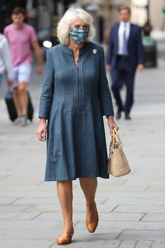 Paying a visit to the National Gallery in July, Duchess Camilla turned heads as she arrived with a trendy face mask to match her blue outfit.