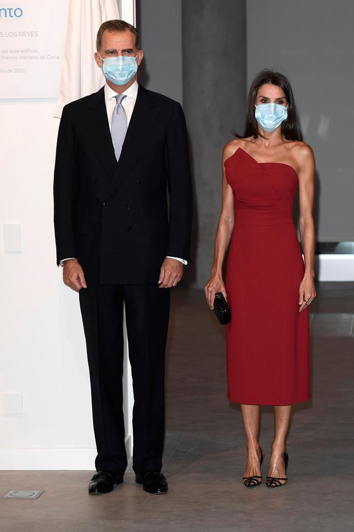 And even for the most glamorous occassions, face masks are a must. Felipe and Letizia stepped out in their COVID-appropriate Sunday best for a dinner in Madrid.