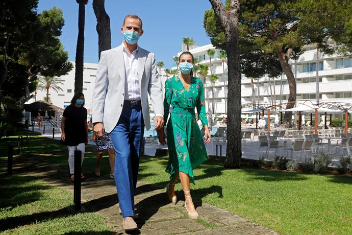 Queen Letizia and her husband King Felipe of Spain also have the right idea. Ever since they recommenced their public engagements, the pair have been masked up for all occasions.