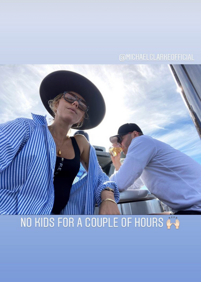 """No kids for a couple of hours,"" Pip captioned this pic of herself and Michael enjoying a few hours on a luxury boat, sailing around Sydney Harbour."