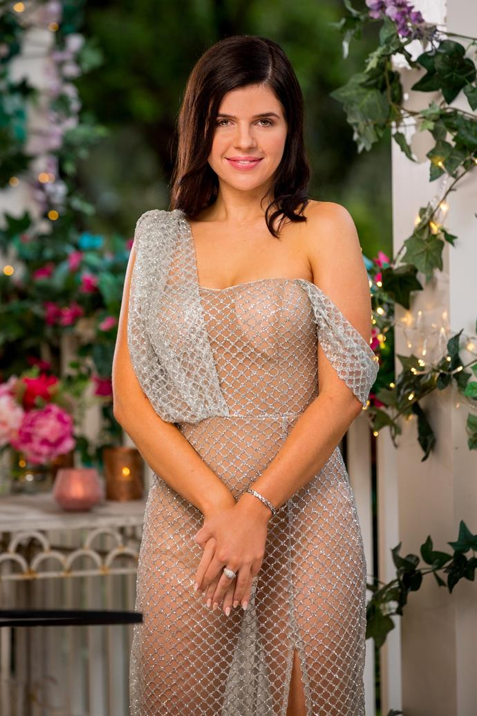 **Laura, 24, WA** <br><br> Laura is a fan of the finer things in life, as you can already tell from her rather bejewelled outfit. Her first meeting with Locky also suggests as much - with a birthday next week, she asks the new Bachie how much he's willing to spend on her - will it be enough?