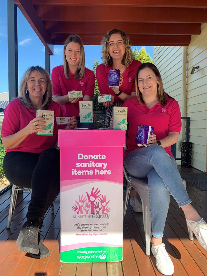 Help support women in need by dropping some of your purchased sanitary items into the pink bins at Woolies.