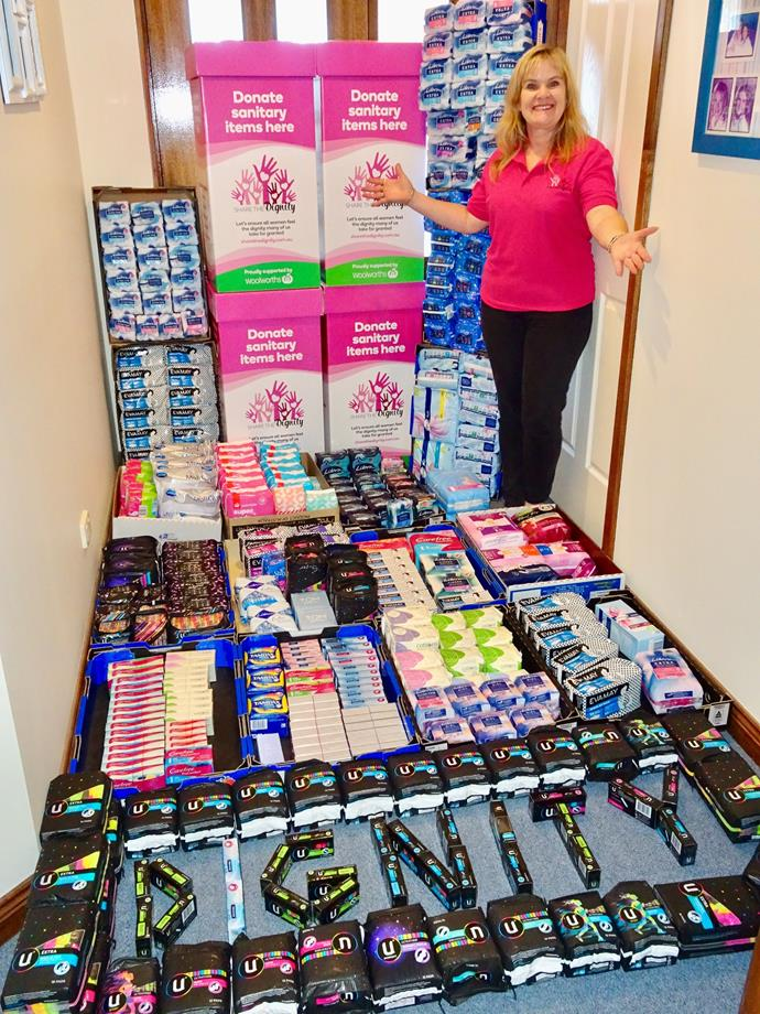 Australian generously donated a range of women's sanitary products when the Covid-19 pandemic hit Australian earlier this year.