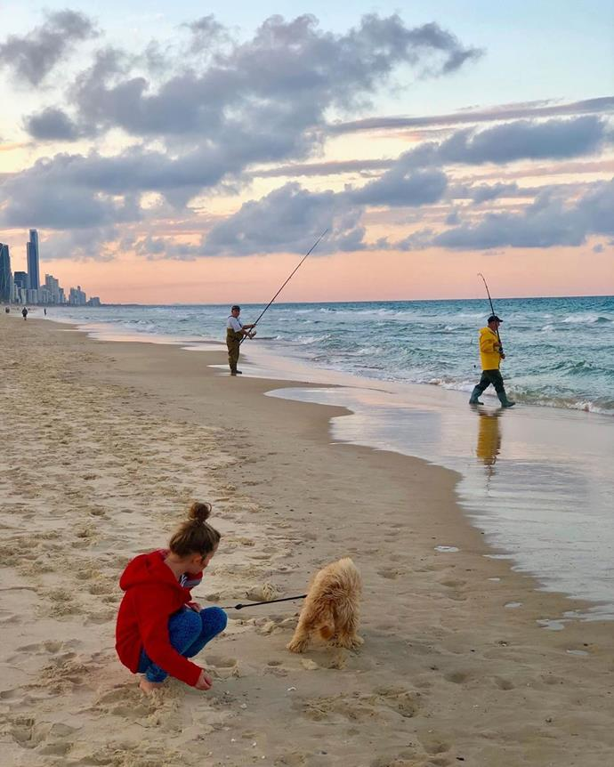 The family live on the Gold Coast - and Olivia clearly loves living right by the beach!
