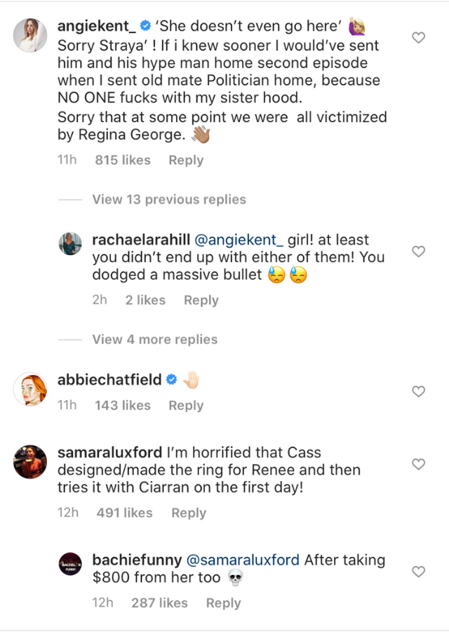 In this screenshot of Angie's comment, the star said she regretted keeping Ciarran around for so long.