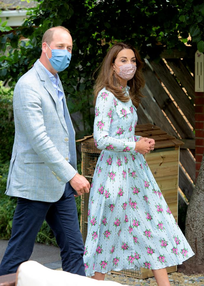 Kate looked heavenly in a recycled Emilia Wickstead  creation - along with her Amaia Kids floral face mask.