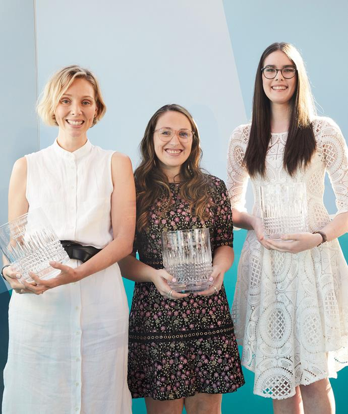 Courtney Holm (left), with the other Women of the Future 2019 winners, Madeleine Buchner and Macinely Butson.