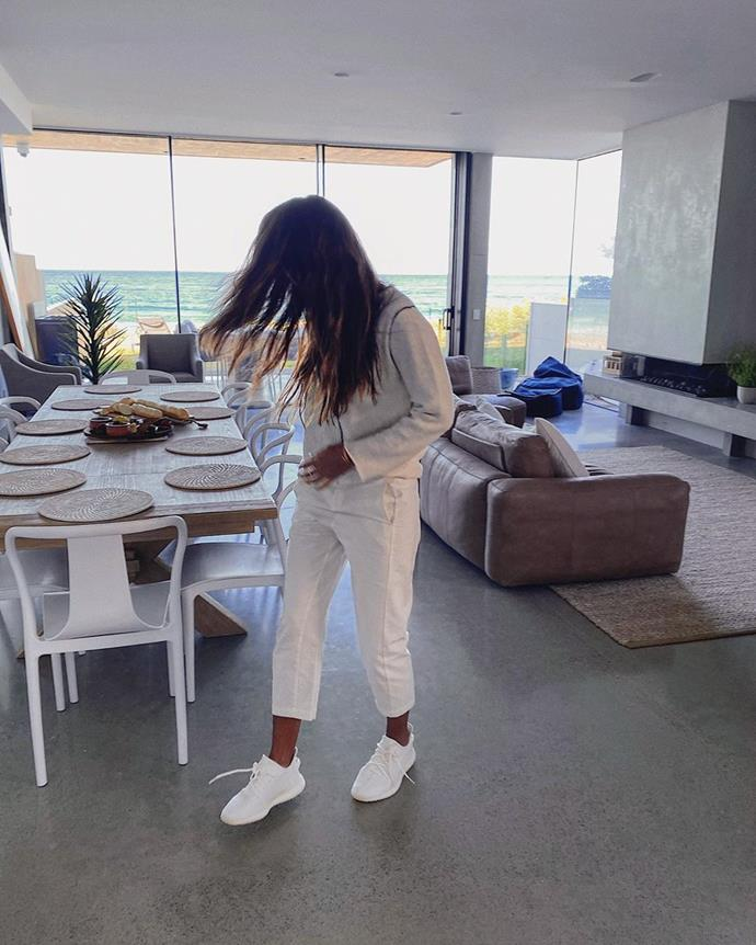 Pia pictured inside her luxury Bondi pad.