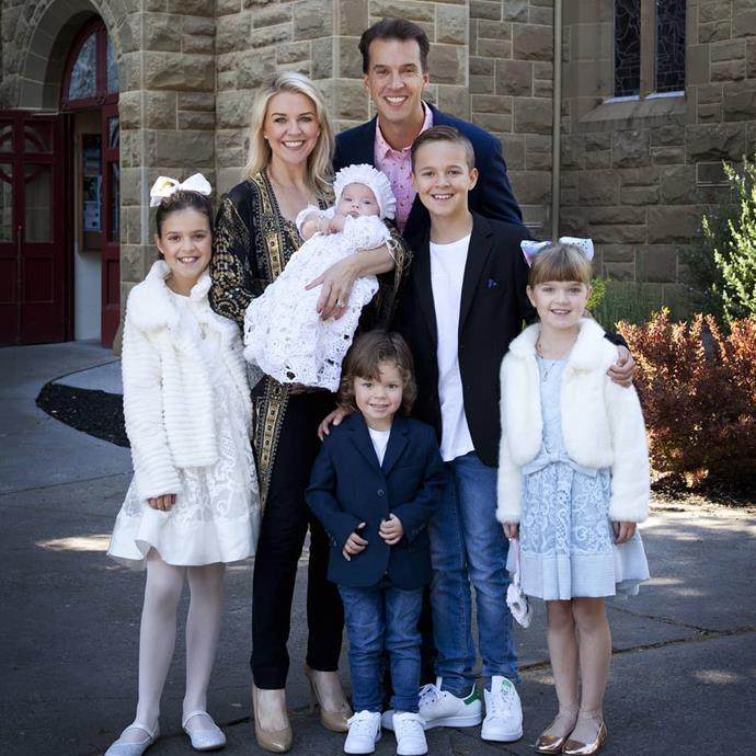 Lauren and Matt pictured with their five children at Perla's christening last year.