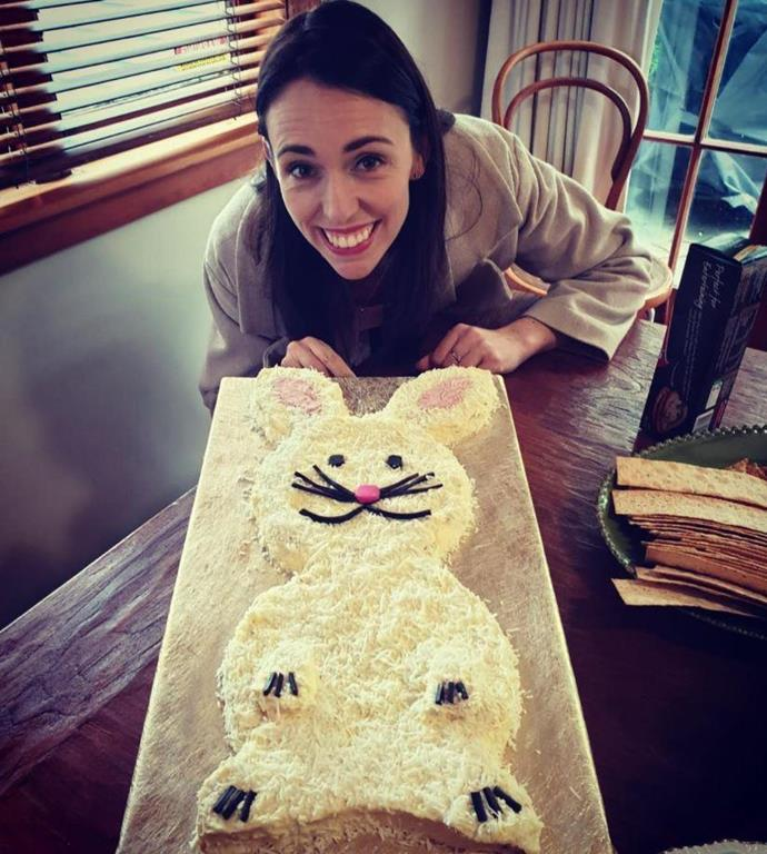 "It's not the first time the mother-of-one has turned to our much-loved *Australian Women's Weekly's Children's Birthday Cake Book*, which has been around for almost four decades. For Neve's first birthday last year, Jacinda baked our iconic bunny cake, albeit with a few hiccups. <br><br> ""I may be smiling but about an hour earlier I was not enjoying the first birthday cake making experience (like just about every parent I know!) I recommend cakes that you can legitimately cover in coconut - it hides almost everything. Happy Birthday wee Neve!"" she penned at the time."