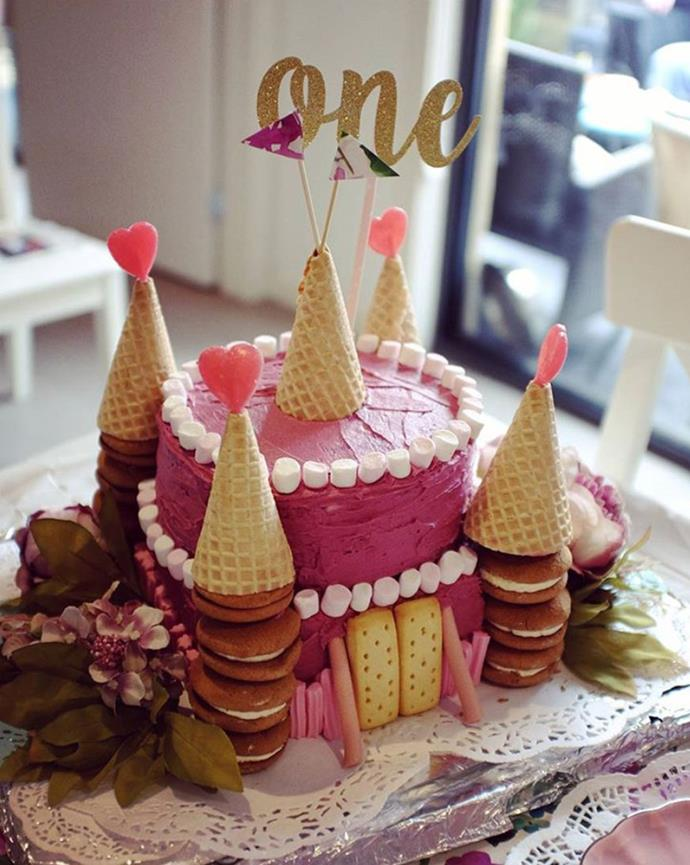 "Reader Em Diggs shows off her picture-perfect [castle for a princess cake.](https://www.womensweeklyfood.com.au/recipes/castle-for-a-princess-5850|target=""_blank"")"