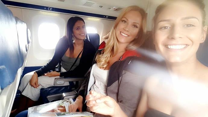 Karlana (left), Ashleigh (centre) and Stacey (right) pictured on a flight together during filming.