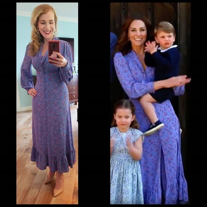 Kate wore this gorgeous blue dress during a #ClapForOurCarers video a few months ago with her children.