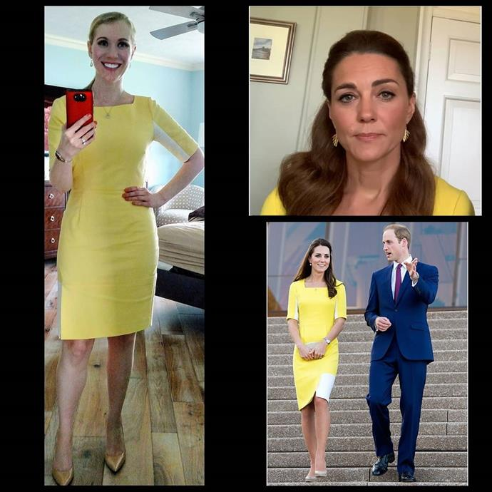 Recreating the moment Kate recycled this gorgeous yellow frock during a recent Zoom call.