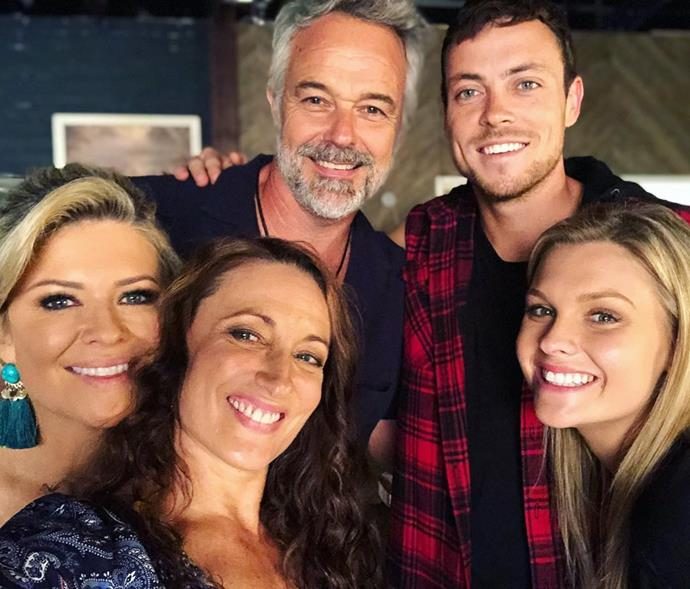 Cameron pictured onset with his *Home And Away* co-stars Emily Symon, Georgie Parker, Patrick O'Connor and Sophie Dillman.